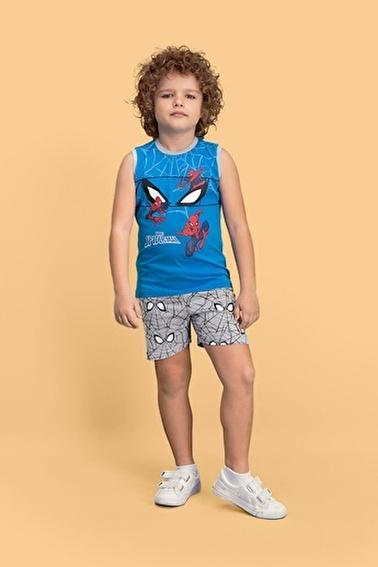 Spider-Man Spider Man Lisanslı Mavi Erkek Çocuk Şort Takım Mavi